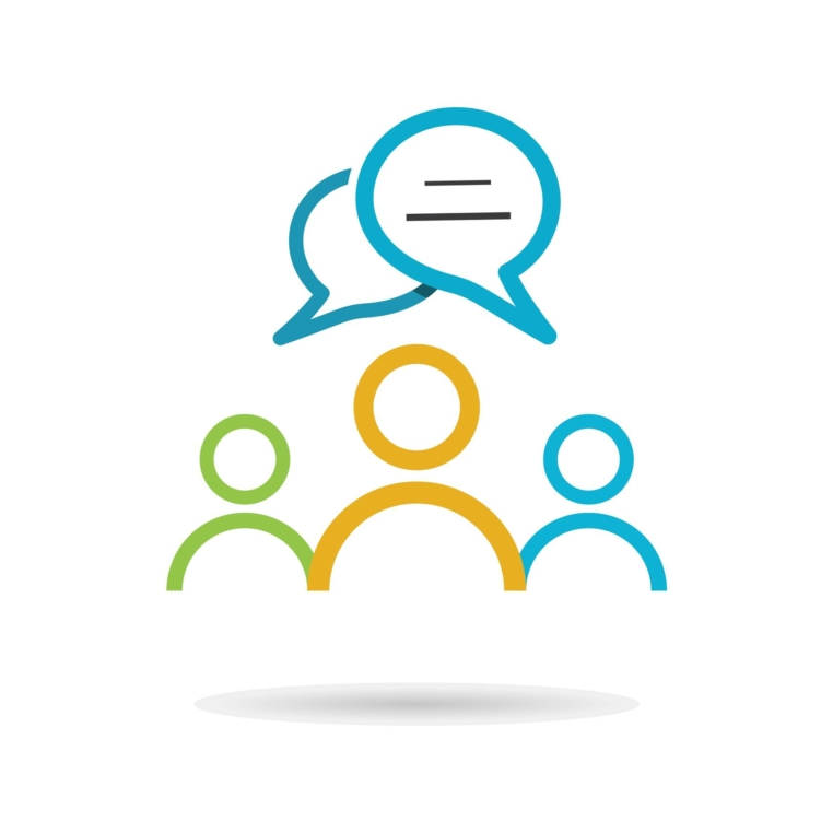community people with speech bubble vector